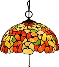 16 Inch Large Tiffany Style Pendant Lighting for Living Room,Handmade Stained Glass Flower Art Lampshade Chandelier,Vintag...