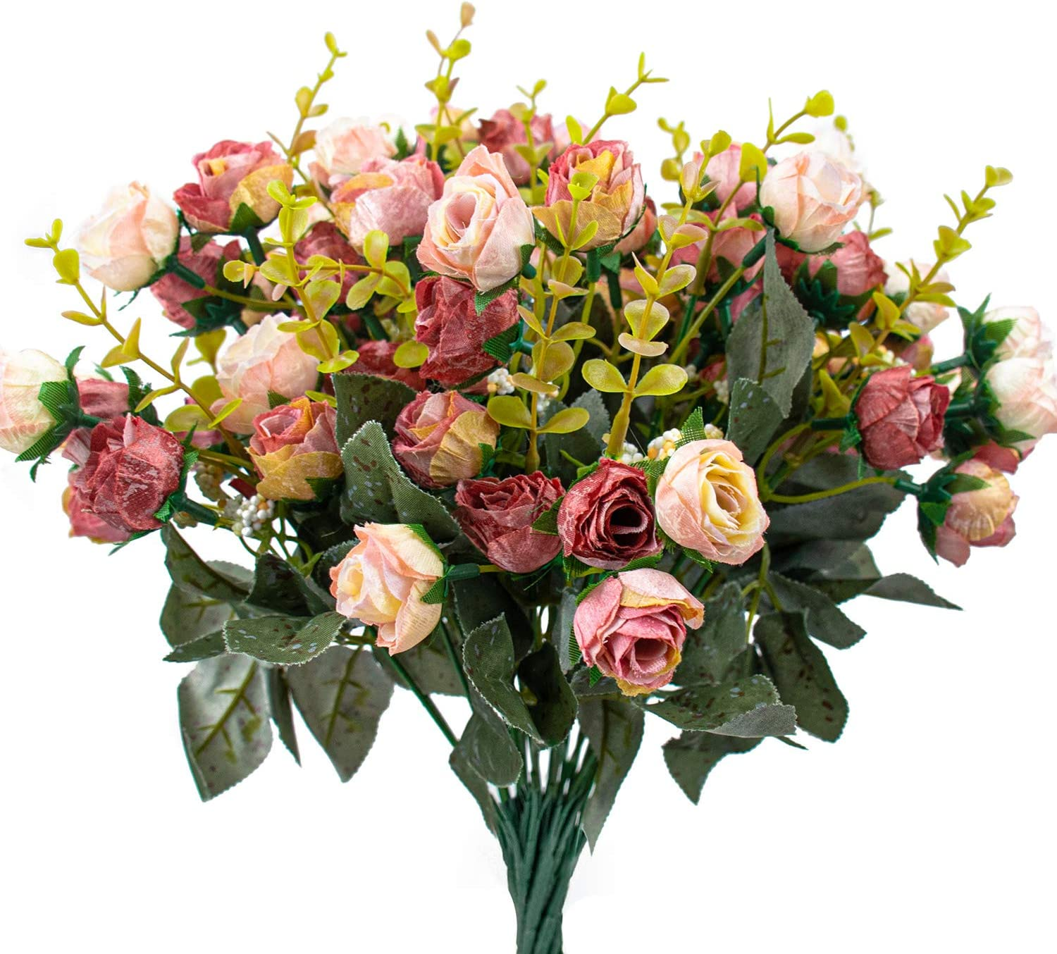 Foraineam 4 Pack Artificial Flowers Flower Bouque Los Angeles Mall Rose Sale price Silk Fake
