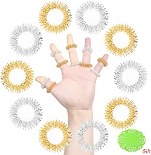 SUMAJU 10Pcs Acupressure Massage Rings, Chinese Medicine Sujok Pain Therapy Finger Circulation Rings (Golden and Silver)