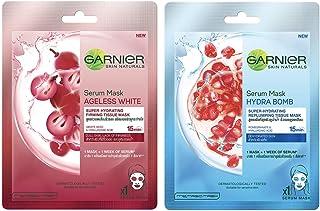 Garnier Skin Naturals, Ageless White, Face Serum Sheet Mask (Red), 32g and Garnier Skin Naturals, Hydra Bomb, Face Serum S...