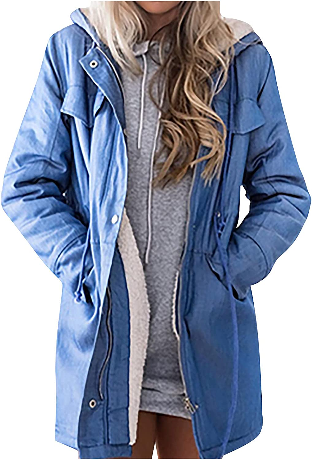 Women'S Winter Outdoor Windproof Long-Sleeved Jacket Solid Color Denim Composite Plush Hooded Jacket With Pockets