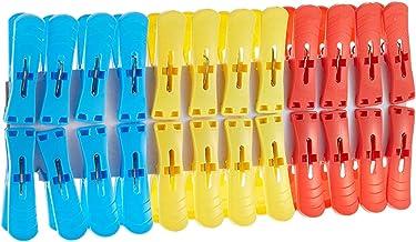 Pratap 223 (A) Clothes Pins 2 In 1 Shrink 24 Pieces, Plastic, Multi-Colour