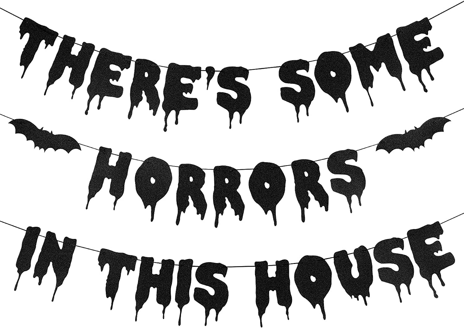 There's Some Horrors In This House Banner Black Glitter- Halloween Party Decorations, Bat Party Decorations,Bats for Halloween Decor, Halloween Haunted House Decor,Halloween Decor for Home Office Fireplace Mantel