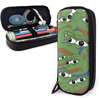 PU Leather Pen Case Pepe The Frog Collage Pencil Bag Zipper Pencil Pen Pouch Case Holder Bag for School Work Office