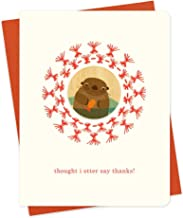 product image for Night Owl Paper Goods Straw Otter Embellished Letterpress Thank You Cards, 6-Pack