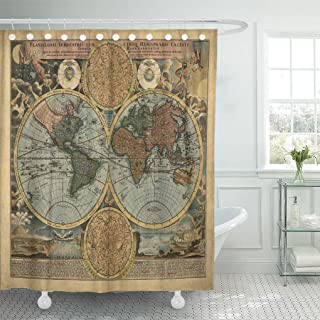 Jszna Shower Curtain Pattern Vintage Old Map World Ancient Antique Atlas Europe Shower Curtains Sets with 12 Hooks 60 x 72 Inches Waterproof Polyester Fabric