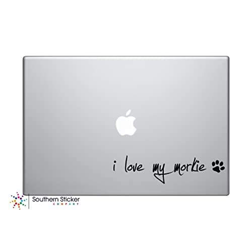 I Love My Morkie Dog Puppy Vinyl Car Sticker Symbol Silhouette Keypad Track Pad Decal Laptop