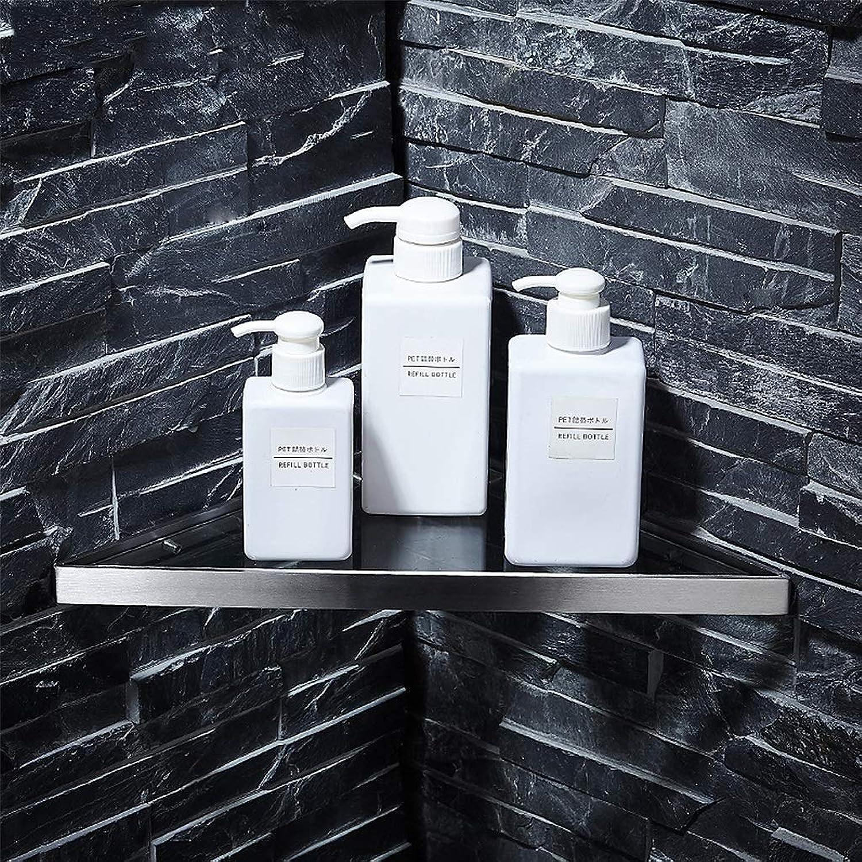 Tempered Glass Corner Shelves for Bathroom, Wall Mounted 304 Stainless Steel Brushed Floating Shelves, Bathroom Items Storage Organizer Rack