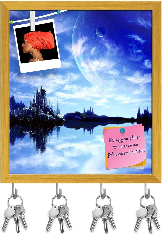 Artzfolio Landscape in Fantasy Planet D4 Key Holder Hooks   Notice Pin Board   golden Frame 16 X 18.2Inch