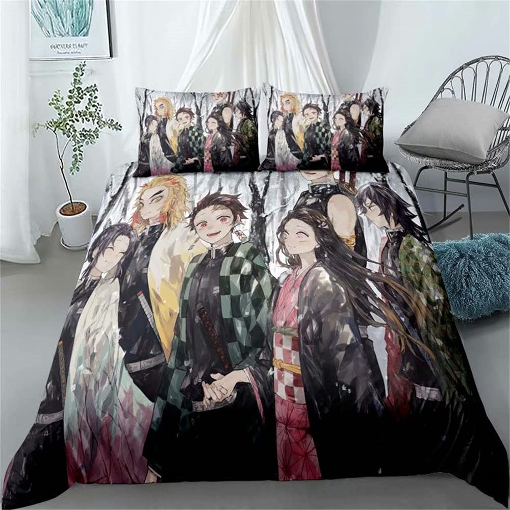 Haonsy Kids Demon Slayer Popular New sales overseas Bedding Set Size 3 for Boys Girls Queen