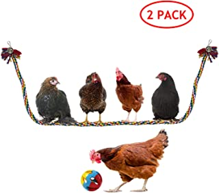 BWOGUE Chicken Swing Large Rope Perch Bungee Climbing Ropes with Play Chicken Ball Toys, Parrot Bird Toy, 59 Inches
