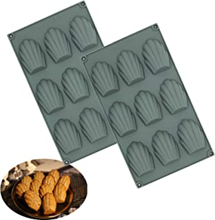 Set of 2 Madeleine Baking Mould,Non-Sticky Silicone Madeleine Mould,Silicone Madeleine Pan for Cake/Chocolate/Candy/Biscui...