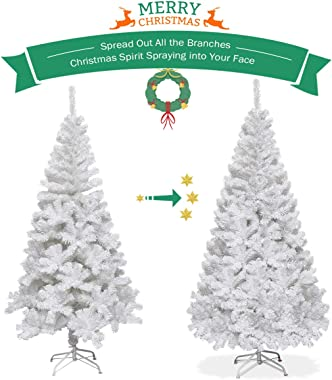 Goplus 5ft White Christmas Tree with Solid Metal Legs Perfect for Holiday Indoor and Outdoor Decoration