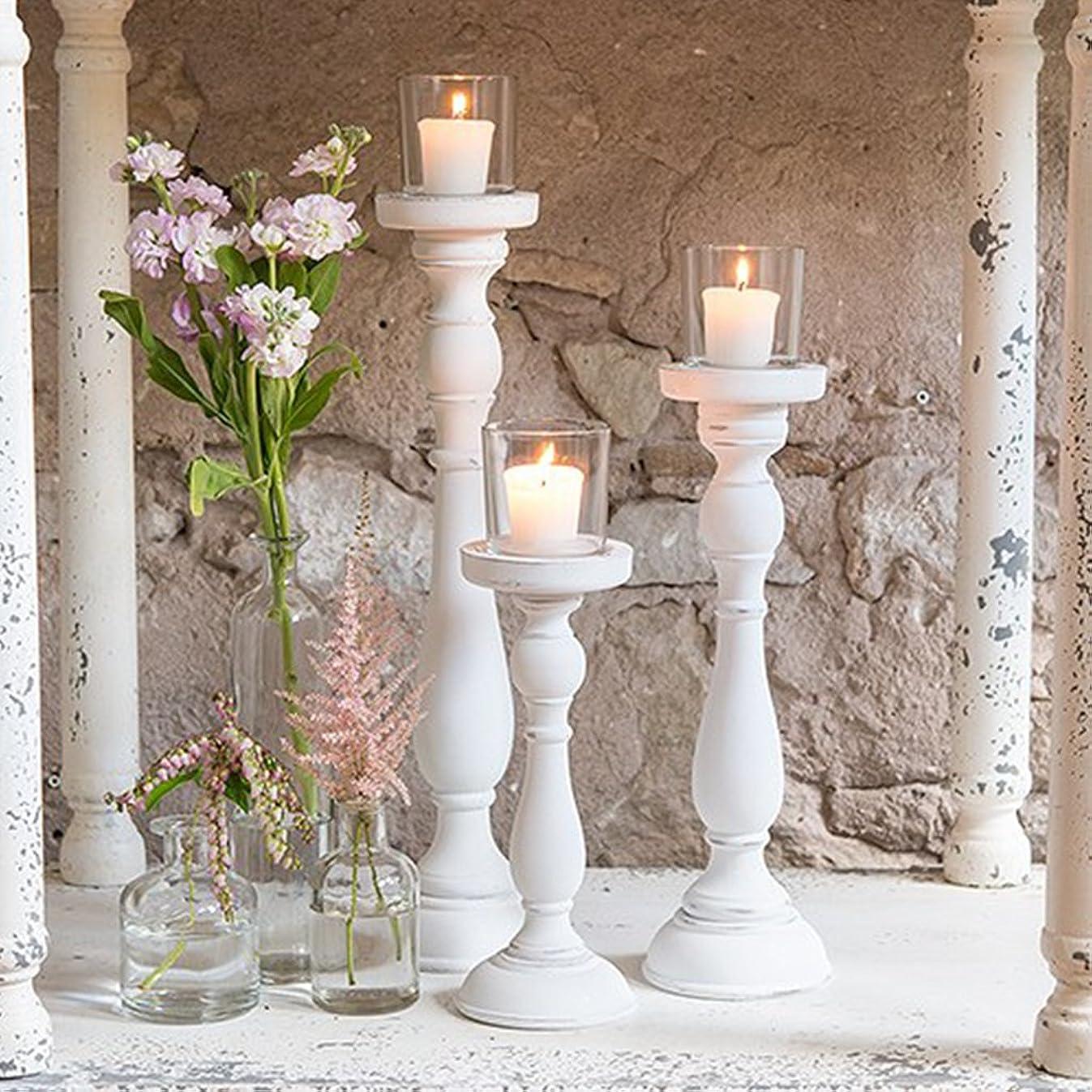 Weddingstar Inc. Shabby Chic Spindle Candle Holder Set White