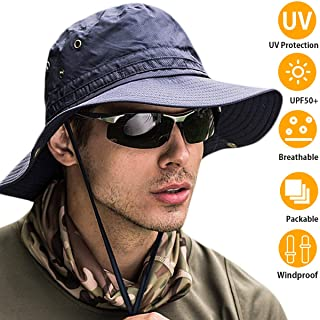 Bakee Sun Hat for Men/Women, 【UPF 50+ Sun Protection】 Wide Brim Fishing Hat and Boonie Hat for Safari Fishing Hiking Beach Golf,2 Size (Navy Blue, L(Ordinary Size:22-24inch))