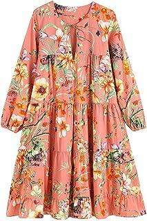 Vintage Chic Floral Print Pleated Dress O Neck Lantern Sleeve Ladies Dresses