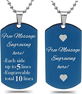Interway Trading Personalized Regular Size Custom Message Engraved Stainless Steel Necklace Dog Tag Pendant with 26 inch (...