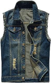 INVACHI Men's Casual Slim Fit Denim Vest Vintage Sleeveless Jeans Vest Jacket