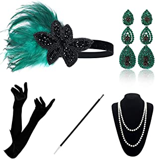1920 Accessories Set - 1920s Flapper Gatsby Costume Accessories Set Vintage Headband Earrings Necklace Gloves Cigarette Ho...