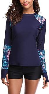 ALove Women Long Sleeve Rash Guard Swimsuit Colorblock Swim Shirts Printed UV Shirts