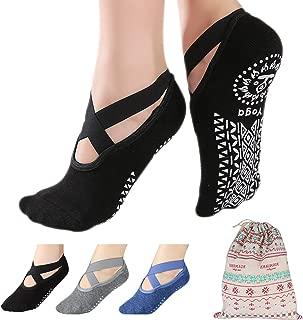 3 Pairs Non Slip Yoga Socks for Women,  Auteve with Grip & Five Toe Socks,  for Pilates,  Ballet,  Fitness,  Pregnant
