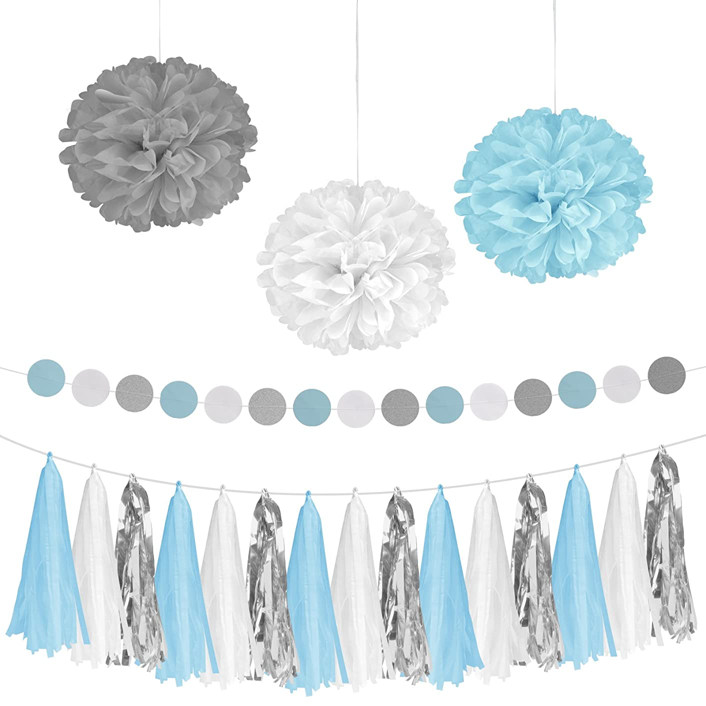 Birthday Party Decorations Set, Pom Poms Flower, Paper Tissue Tassel Garland for Baby Shower Bridal Shower Engagement Wedding Party