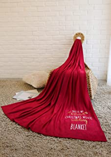 HCDAPPAREL This is My Hallmark Chiristmas Movie Watching Blanket Soft Microfiber Fuzzy Flannel Hallmark Blanket Home Fleece Blanket Black Throw Blanket for Couch Bed (Red, 51x63 Inches)