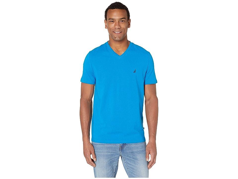 Nautica Short Sleeve Fashion Jersey V-Neck Tee (Capri Blue) Men