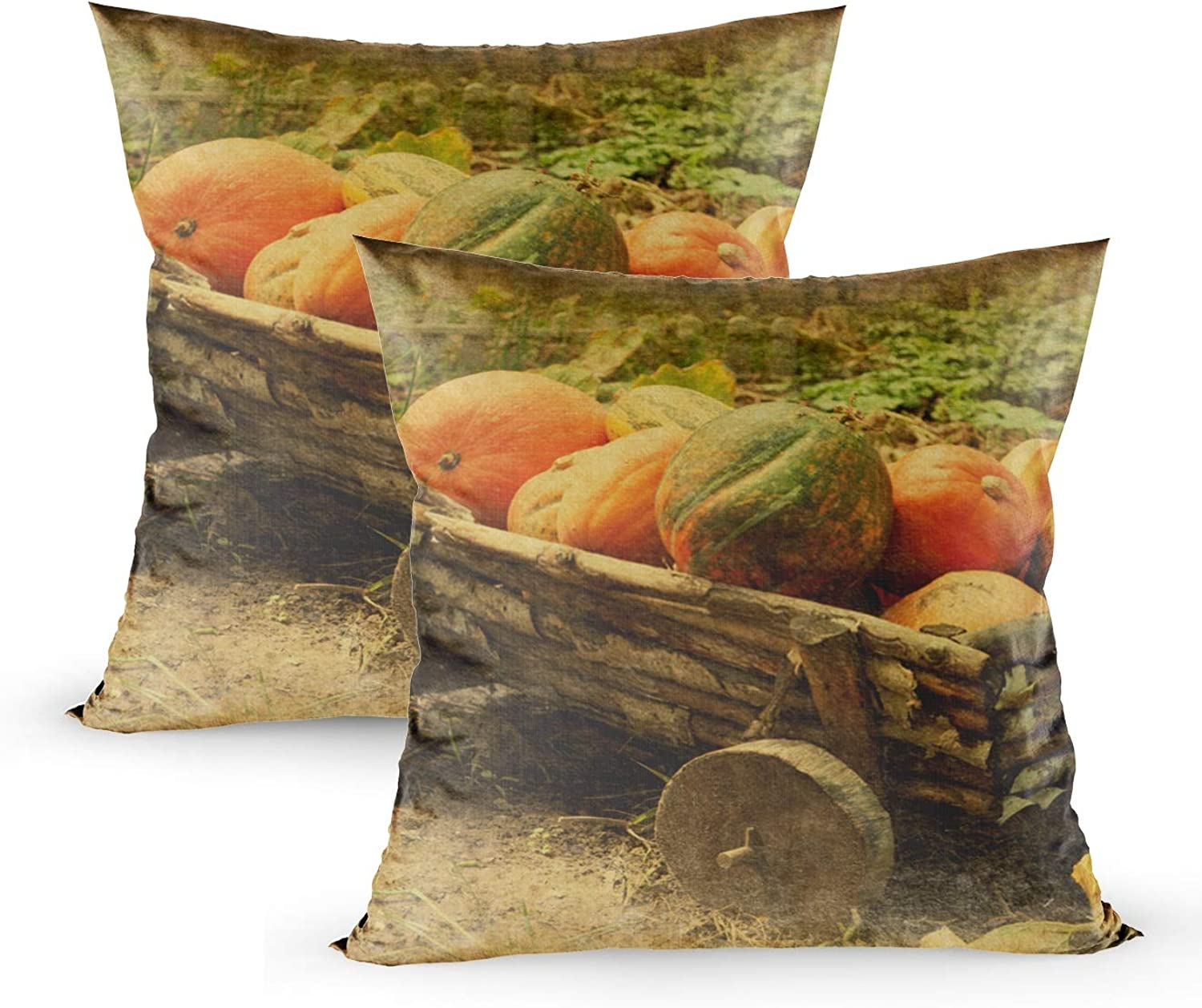Fullentiart Zip Pillow case, Retro Image Old Wooden Cart Pumpkins Added Paper Texture Cushion Soft SkinFriendly Fade Wrinkle Resistant and Easy to wash 18X18inches 2PCS