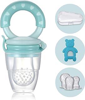 Tetine Alimentation Bebe - 1 Grignoteuse Bébé + 3 Tétines silicone (Bébé 3 à 24 mois) sans BPA - Anneau de Dentition + Boi...