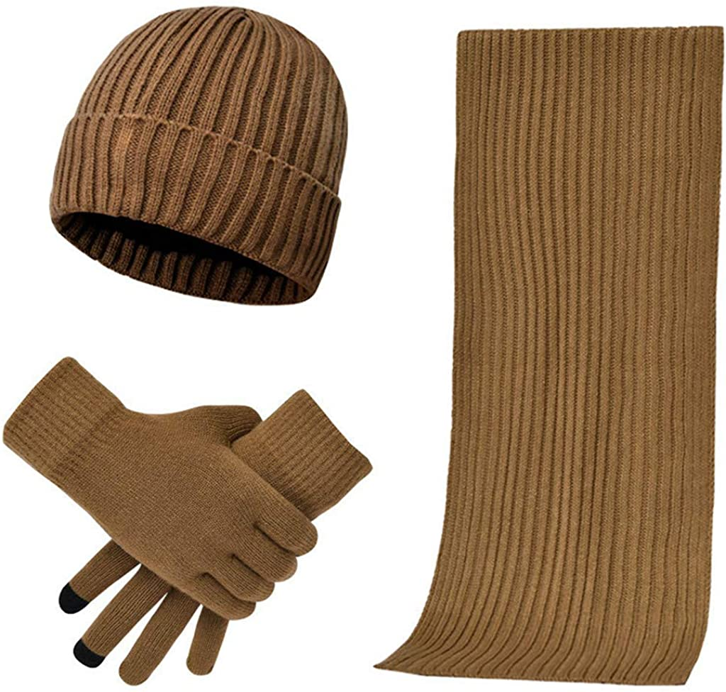 BCDlily Unisex Beanie Hat Scarf Gloves Stretch Skull Cap Knit Scarves Touch Screen Mittens