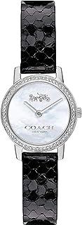 ساعة بمينا ابيض لؤلؤي وسوار اسود من جلد العجل للنساء من كوتش - 14503361