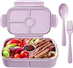 Bento Boxes Lunch Containers with 4 Compartments Bento Lunch Box Microwave/Freezer/Dishwasher Safe (Flatware Included,Ligh...