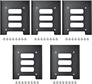TRIXES Pack of 5 Black Metal 2.5 in SSD to 3.5 in SSD Internal Hard Disk Drive Mounting Kit - Bracket for Hard Drive - High Performance Mounting Replacement for Hard Drive