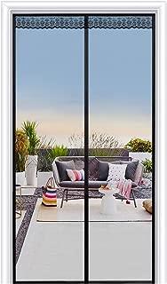 Joypea Magnetic Screen Door with Durable Fiberglass Double Door Screen Mesh Curtain and Full Frame Hook Loop Fits Door Size up to 38
