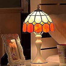 LXDZXY Lampy Stołowe, 8-Calowy Stół Style Lamp, Biuro Vintage Mediterranean Witraż Lampy Duszpasterska Niebieski Pomarańcz...