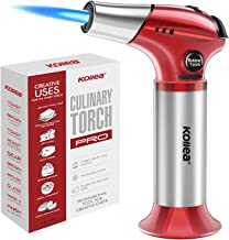 Butane Torch, Kollea Kitchen Blow Torch Refillable Cooking Torch Lighter, Mini Creme Brulee Torch with Safety Lock & Adjustable Flame for Desserts, BBQ, Soldering(Butane Gas Not Included)