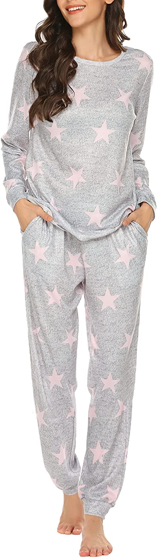 Ekouaer Womens Pajama Set Long Sleeve Sleepwear Star Print Nightwear Soft Pjs Lounge Sets with Pockets