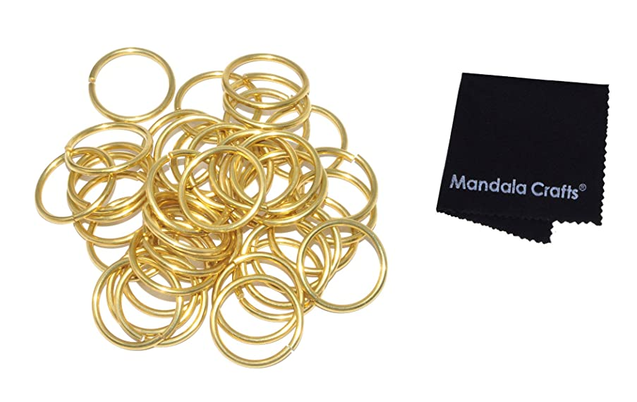 Mandala Crafts Non Welded Solid Brass Metal Large Open O-Rings for Sewing Webbing Leatherworking Chain Maille Collar Bag Jewelry Making (2mm or 12 Gauge X 24mm or 1 Inch)