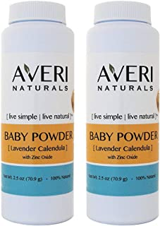 2 Pack Averi Naturals Baby Powder • 100% Natural • with Arrow Root and Zinc Oxide • 2.5 oz • Free Shipping (2)