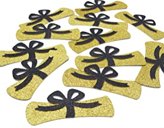 Diploma Confetti, 12pcs 4 inches Graduation Centerpeices Congrats Grad Party Decorations Graduation Table Decor Class of 2019 High School College Graduation Party Supplies (Gold & Black Glitter)