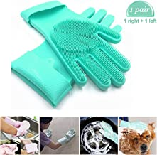 Carecroft Silicone Cleaning Reusable Heat Resistant Pair Magic Brush Gloves Scrubber for Kitchen Dishwashing Dish Car Wash Pet Bathroom Household