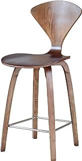 ModHaus Mid Century Modern Norman Cherner Style Molded Bent Plywood Counter Stool - Walnut Finish