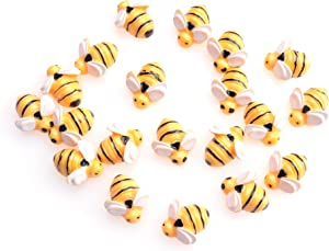 Sowaka 20 Pcs Mini Bee Ornaments Tiny Resin Flatback Embellishment Bumble Bee for Hair Clip DIY Craft Art Project Home Garden Decoration Supplies Jewelry Making Scrapbooking (Small)