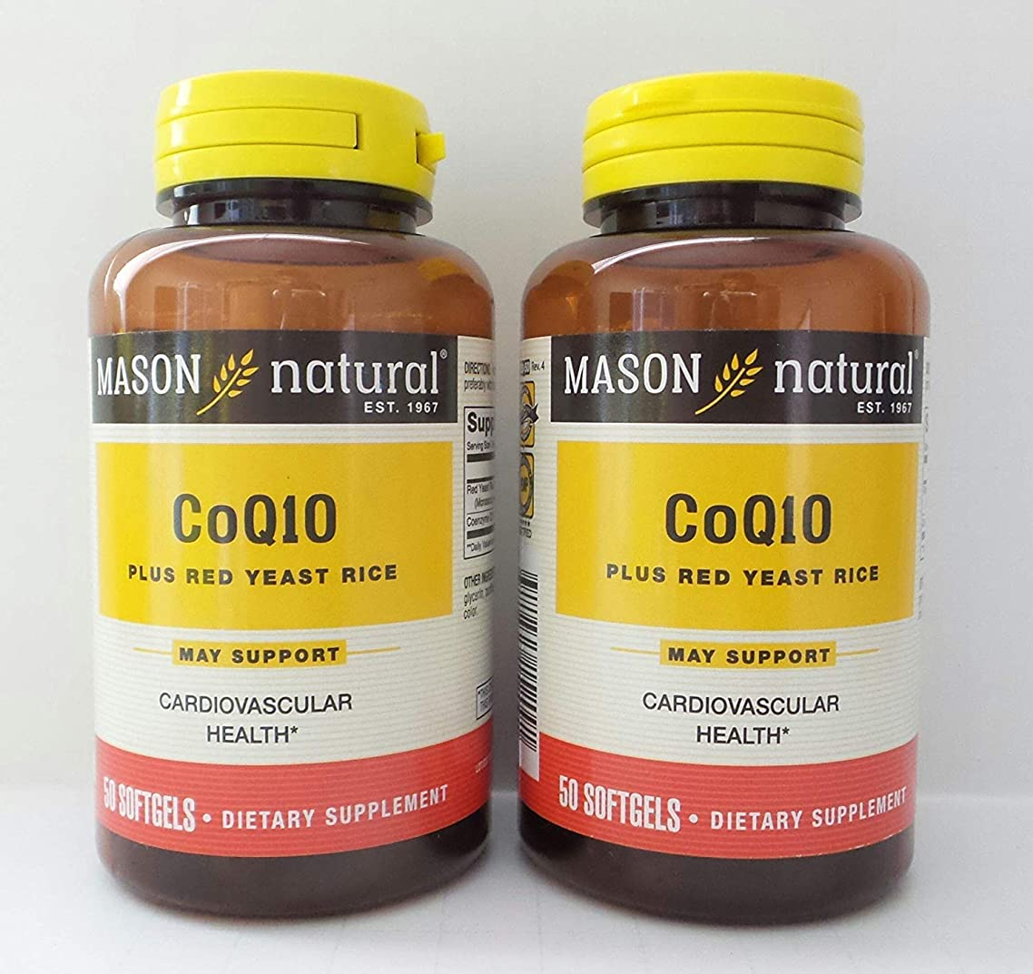 Mason Natural Co Q-10 Plus Red Yeast Rice - 50 Softgels, Pack of 2
