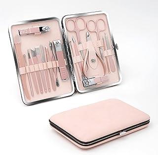 VKK Manikyr och pedikyr set, nagelvårdsväska, kit med 18 personliga vårdverktyg (rosa)