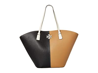 Tory Burch McGraw Color-Block Shopper Tote (Black/Tiramisu) Handbags