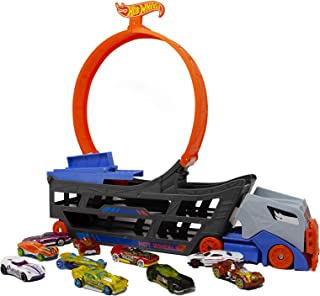 Hot Wheels Stunt & Go Track Set with Hauler and 10 Cars (Styles May Vary) Playset