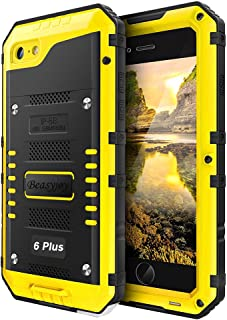 Phone Case Compatible with iPhone 6 Plus 6s Plus, Metal Case Heavy Duty with Screen Full Body Protective Waterproof, Impact Shockproof Dust Proof Tough Rugged Hard Cover Military Defender, Yellow