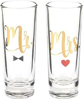 Blue Panda Party Shot Glasses - Mr Mrs Couple Shot Glasses Gold Foil Print Newlyweds, Anniversary, Bridal Shower Engagement - Set of 2, 2 oz Each